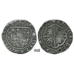 Potosí, Bolivia, cob 2 reales, Philip II, P-L/B (2nd period).