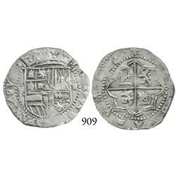 Potosí, Bolivia, cob 2 reales, Philip II, P-B (3rd period).
