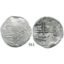 Potosí, Bolivia, cob 2 reales, Philip II, P-B (4th period), half-real sized lions.