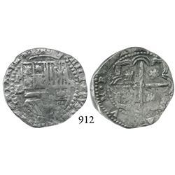 Potosí, Bolivia, cob 2 reales, Philip II, P-RL (RL/B?).