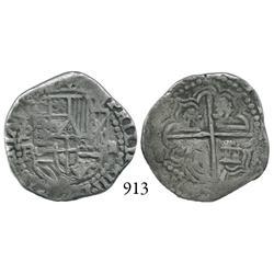 Potosí, Bolivia, cob 2 reales, Philip III, P-RL (curved leg).