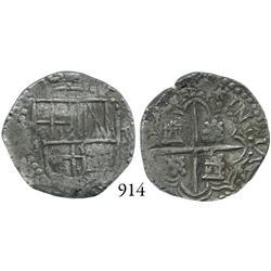 Potosí, Bolivia, cob 2 reales, Philip III, P-M.