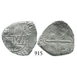 Potosí, Bolivia, cob 2 reales, 1617(M), date at 12-1 o'clock, scarce.