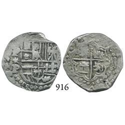 Potosí, Bolivia, cob 2 reales, Philip IV, P*P (early 1620s), quadrants of cross transposed.