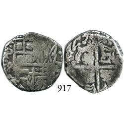 Potosí, Bolivia, cob 2 reales, 1625P, extremely rare (discovery specimen), quadrants of cross transp