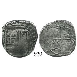 Potosí, Bolivia, cob 2 reales, 1630T, rare.