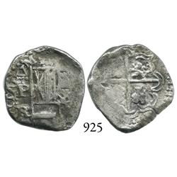 Potosí, Bolivia, cob 2 reales, Philip IV, P-FR, upper half of shield transposed, rare.
