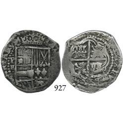 Potosí, Bolivia, cob 2 reales, Philip IV, P-E, scarce.