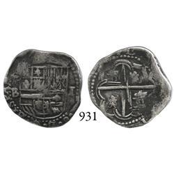 Potosí, Bolivia, cob 1 real, Philip II, P-B (4th period).