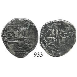 Potosí, Bolivia, cob 1 real, Philip II, P-R (Ramos), tiny R, scarce.