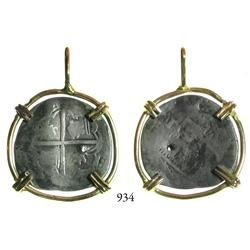 Potosí, Bolivia, cob 1 real, Philip II, assayer not visible, mounted in 14K necklace bezel.