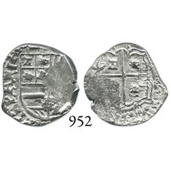 Potosí, Bolivia, cob 1 real, Philip IV, unlisted error with no mintmark and assayer, 1/2R-sized lion