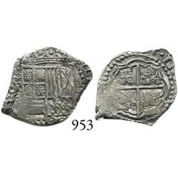 Potosí, Bolivia, cob 1 real, (1651-2)E, scarce.