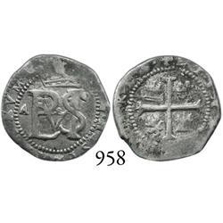 Potosí, Bolivia, cob 1/2 real, Philip II, assayer A, rare.