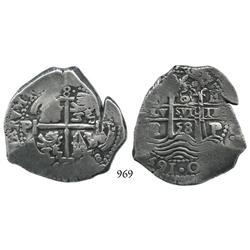 Potosí, Bolivia, cob 8 reales, 1658E.