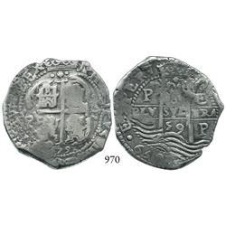 Potosí, Bolivia, cob 8 reales, 1659E.