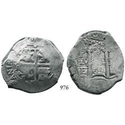 Potosí, Bolivia, cob 8 reales, 1667E.