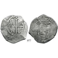 Potosí, Bolivia, cob 8 reales, 1668E.