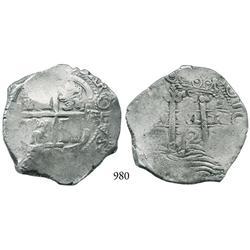 Potosí, Bolivia, cob 8 reales, 1672E.