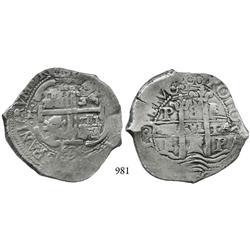 Potosí, Bolivia, cob 8 reales, 1674E.