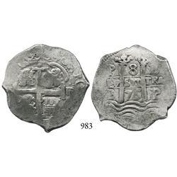 Potosí, Bolivia, cob 8 reales, 1675E.