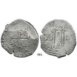 Potosí, Bolivia, cob 8 reales, 1676E.