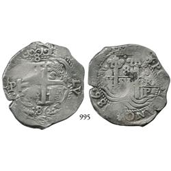 Potosí, Bolivia, cob 8 reales, 1686VR.