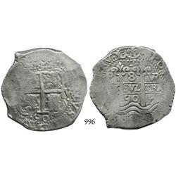 Potosí, Bolivia, cob 8 reales, 1690VR.