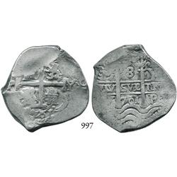 Potosí, Bolivia, cob 8 reales, 1701Y, Charles II posthumous.