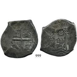 Potosí, Bolivia, cob 8 reales, 1706Y, scarce.