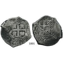 Potosí, Bolivia, cob 8 reales, 1726Y (Louis I), rare.