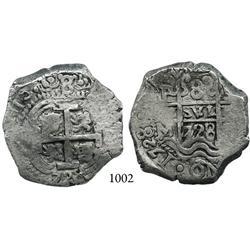 Potosí, Bolivia, cob 8 reales, 1728M, finest known.