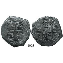Potosí, Bolivia, cob 8 reales, 1734E.