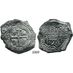 Potosí, Bolivia, cob 8 reales, 1750q.