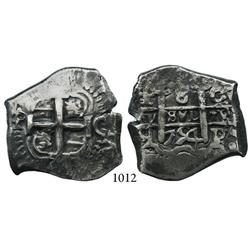Potosí, Bolivia, cob 8 reales, 1754C+q, very scarce.