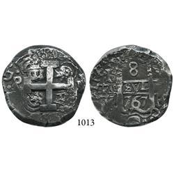 Potosí, Bolivia, cob 8 reales, 1767V-Y.