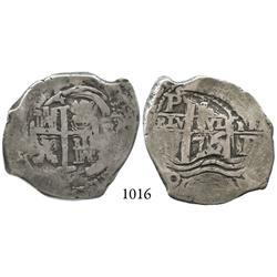 Potosí, Bolivia, cob 4 reales, 1676E, rare.