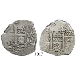 Potosí, Bolivia, cob 4 reales, 1682V, scarce.