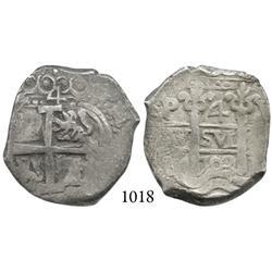 Potosí, Bolivia, cob 4 reales, 1703Y, scarce.