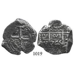 Potosí, Bolivia, cob 4 reales, 1745q, scarce.