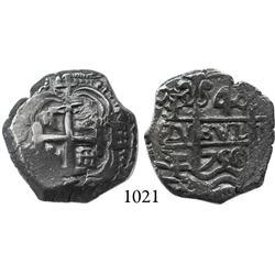 Potosí, Bolivia, cob 4 reales, 1750E, scarce.