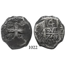 Potosí, Bolivia, cob 4 reales, 1767V-Y.