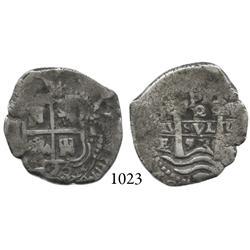Potosí, Bolivia, cob 2 reales, 1653E, PH at top.