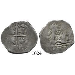 Potosí, Bolivia, cob 2 reales, 1655E.