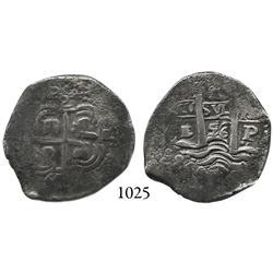 Potosí, Bolivia, cob 2 reales, 1656E.
