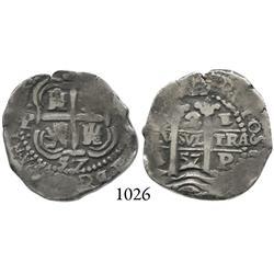 Potosí, Bolivia, cob 2 reales, 1657E.