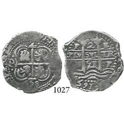 Potosí, Bolivia, cob 2 reales, 1658E, finest known.