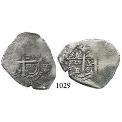 Potosí, Bolivia, cob 2 reales, 1661E.