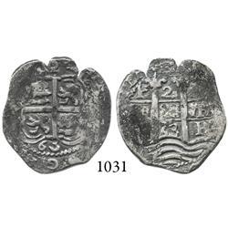 Potosí, Bolivia, cob 2 reales, 1663E, scarce.