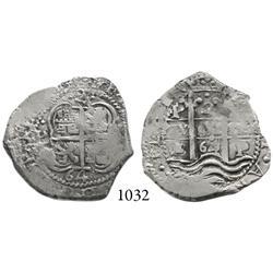 Potosí, Bolivia, cob 2 reales, 1664E, scarce.